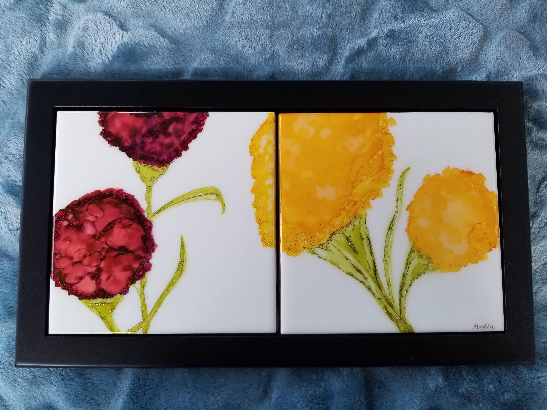 Tile Art Alcohol Ink Floral