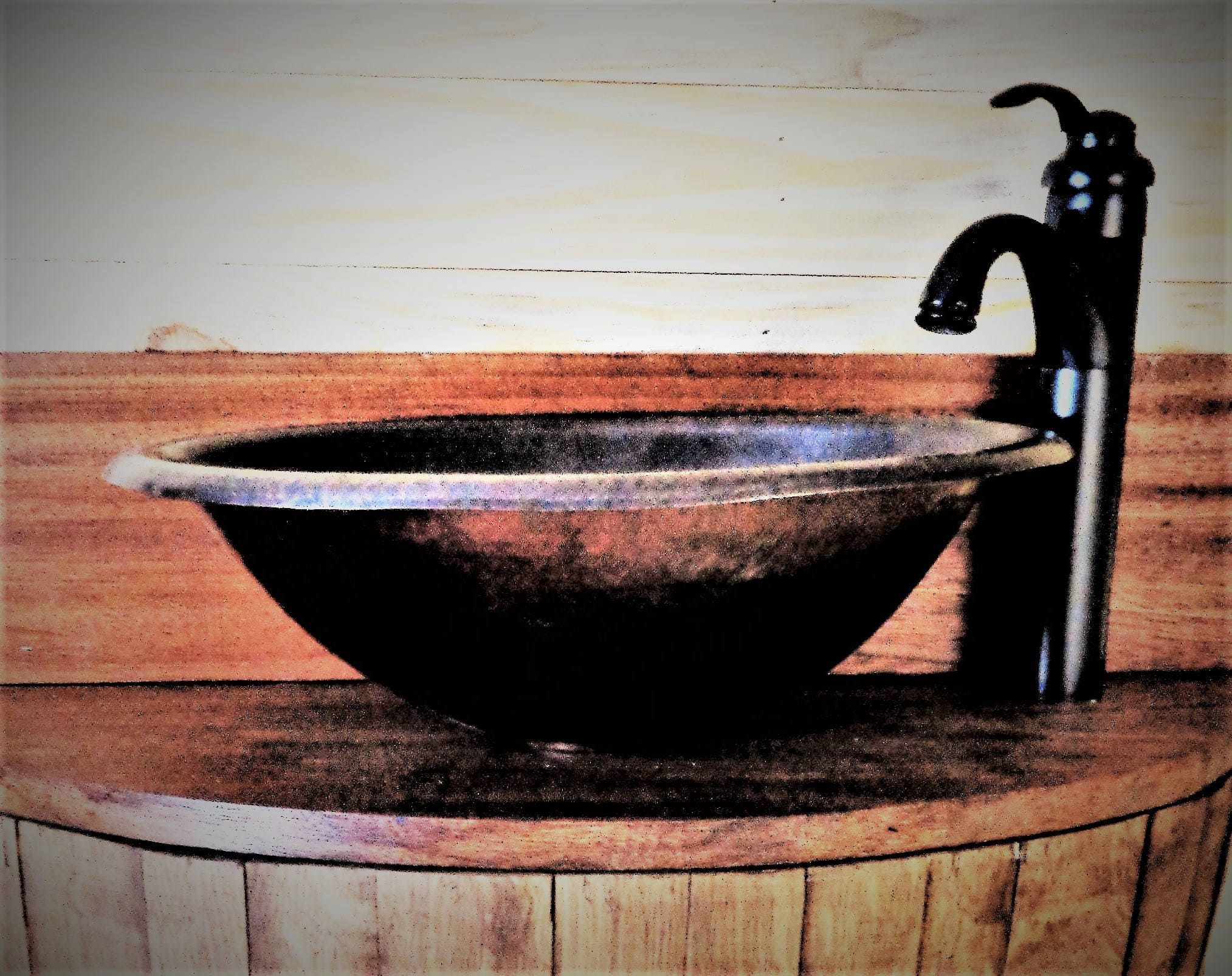 Oil Rubbed Bronze Faucet with 17X13 Oval Copper Sink ...