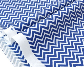 American fabric geometric chevron zig zag blue white x 50cm