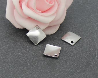 16 charms sequin square 14 x 14 mm BRA35 stainless steel