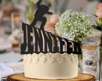Personalized Snowboarder Girl Name Slope Cake Topper