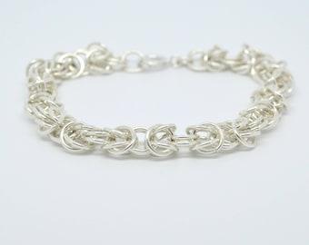 Silver plated Byzantine chain bracelet