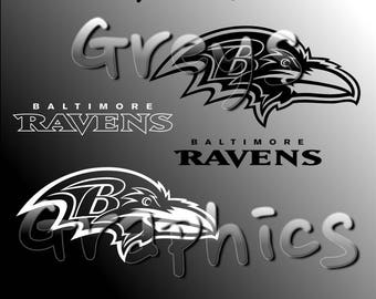 Baltimore Ravens Primary Logo with Logotype Single Color - SVG - DXF - EPS - Vectors