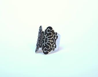 shipibo ring. silver ring. oxidized silver ring
