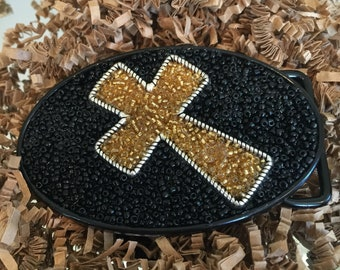 Rhinestone gold cross belt buckle
