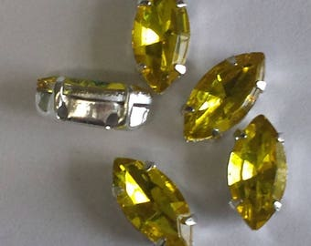 10 yellow - set glass 10x5mm navettes