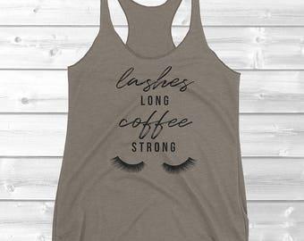 Eyelashes Shirt // Cute Lashes Shirt for Women // Cute Mascara Coffee Shirt for Women // Lashes Long Coffee Tank // Coffee Lovers Gifts