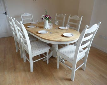 Exquisite Oval Extending Shabby Chic Table Set
