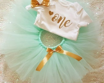 Mint & Gold Tutu Cake Smash First Birthday Baby Girls Outfit