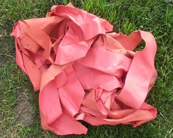 400 g saumonne pink lambskin leather scrap lot