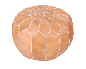 Moroccan Leather Pouf  Pouf Ottoman Footstool (Leather) Genuine Hand-Stitched Seating | Living Room, Bedroom, Sitting Area | Light Tan |