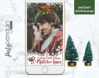 INSTANT DOWNLOAD SNAPCHAT Filter | Mistletoe Kisses Geofilter | Holiday Party Filter | Party Geofilter | Candy Cane Wishes Holiday Geofilter