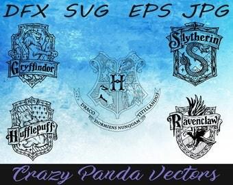 Harry Potter Emblem Set of 5 Hogwarts Houses - Gryffindor logo vector - Slytherin vector - Ravenclaw SVG - Hufflepuff - Hogwarts Houses SVG