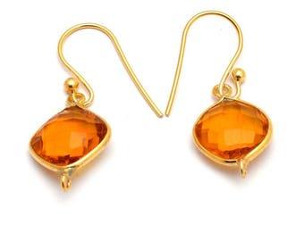 Gold Overlay Citrine Quartz Cushion 10mm Gemstone Dangle Earrings With Bail