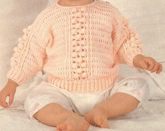 Baby Bobble Top / Sweater, Crochet Pattern, Instant Download.