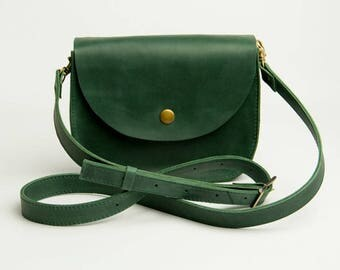 Green Shoulder Bag Natural Leather Bag Crossbody Bag Shoulder Boho Bag Green Leather Bag Shoulder Bag Shoulder Purse Mini purse