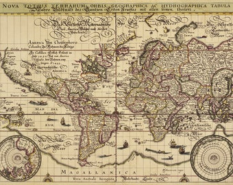 Ancient map of the World 1492, antique, fine art print