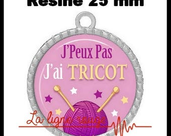 Pendant cabochon silver round 25 mm epoxy resin - I can not I have knit! (2087)