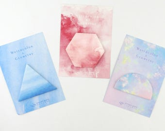 Watercolor Sticky Note - Geometric Self-Adhesive