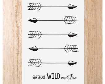 5 Arrows - Barefoot, Wild and Free Print