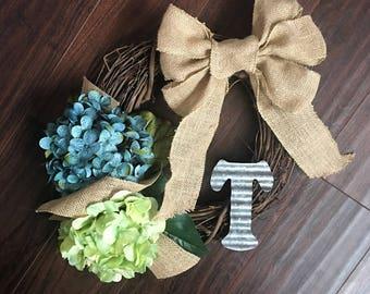 Custom Small Initial Wreath. Burlap and Hydrangea. Everyday Wreath