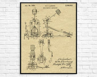 Kick Drum Pedal Patent Canvas Art, Drum Decor, Ludwig, Music Canvas, Drummer Gift, Bass Drum Pedal, Gift for Drummers, Studio Decor