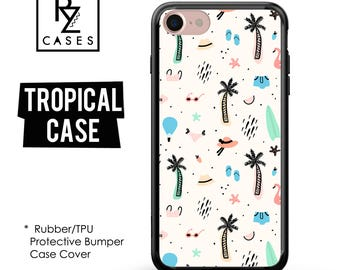 Tropical Phone Case, Palm Tree Phone Case, Beach Case, Summer, iPhone 7, Gift for Her, iPhone 7 Plus, iPhone 6S, Rubber, Bumper