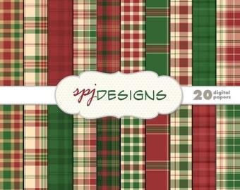 20 Red & Green Christmas Tartan/Plaid Digital Printable Scrapbooking Paper Background