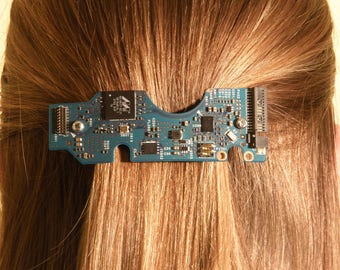 Hair Clip, Cyberpunk Jewelry, Steampunk Jewelry, Circuit board Hair Clip, Gift For Her, Geek Jewelry, Tech, Tech Gift, Upcycled Jewelry