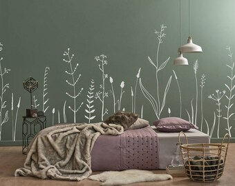 Wild Flowers Wall Decal   Fake Meadow Decal, Vinyl Wall Decal, Living Room,