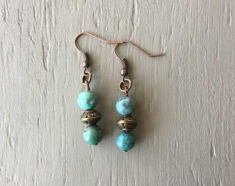 dangle beaded earrings, round turquoise earrings, bronze earrings