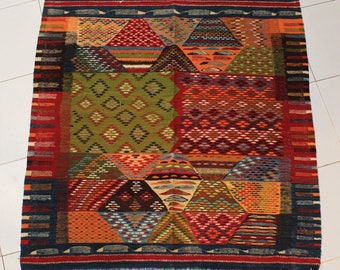 Moroccan Berber Detailed Patterned Multi-Color Wool Rug