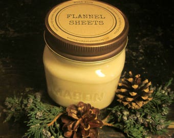 FLANNEL SHEETS // Soy Candle // Wood Wick // Mason Jar // Laundry // Winter // Warm