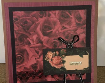 "MOTHERS DAY LOVE Anniversary Card Crimson Roses ""Wonderful"""