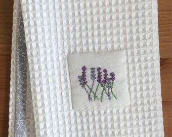Handmade hand towel with lavender motif hand-embroidered by Apples N' Thyme