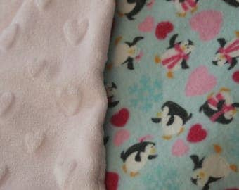 Valentine's Penguins Flannel Print Heart Minky Backed Baby Blanket