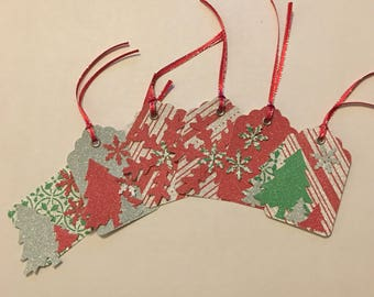 Lot of 6 Beautiful Red, Green and Silver Glitter Handmade Christmas Tags