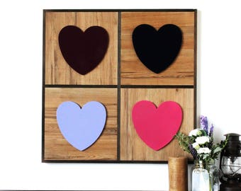 Large Rustic Wood Decor w. Colorful Wooden Heart Accents - rustic decor, wooden decor, wooden wall art, wedding decor, valentine's day gift