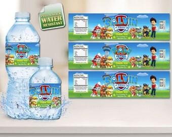 Paw Patrol Water Bottle Labels, Paw Patrol Labels, Paw Patrol Stickers, Bottle Labels, Bottle Stickers, Labels, Paw Patrol, Ryder