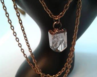 Copper electroformed danburite pendant.