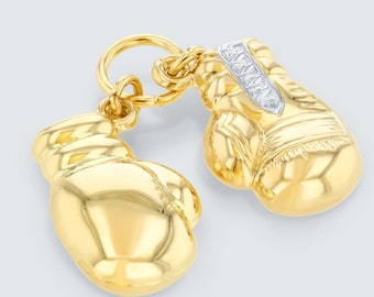 14K Yellow Gold Two Tone 3D Boxing Gloves Charm Sports Pendant