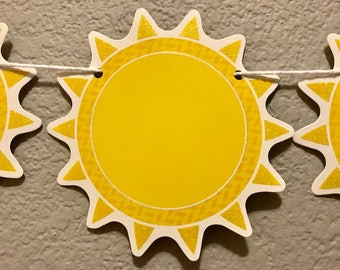 Sunshine Banner, Yellow Sun, Summer Party Decor, Party Decorations, Party Supplies, Party Sign, Garland, Streamer, Kid's Birthday