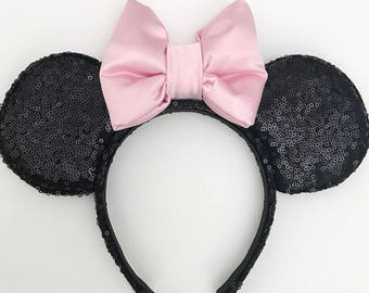 Black Sequin Mouse Ears Headband with Pink Pastel Bow