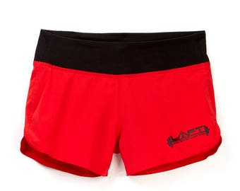 Women's CrossFit WOD Barbell Shorts Weightlifting Lifting Running with Back Zipper Pocket