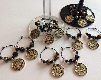 Zodiac wine glass charms, limited time only