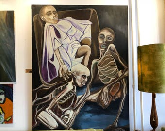 "Modern Surrealist ""Somalia 1992"" by Harold Zabitz - Oil on Canvas"