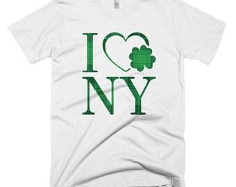 I Love New York Clover Shirt // I Heart NY Lucky T Shirt // New York St. Patrick's Day Tee // Funny Shamrock Short-Sleeve T-Shirt