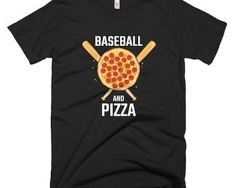 Baseball And Pizza T Shirt // Pizza Lover Shirt // Sports Tee // Baseball Shirt // Funny Food Shirt // Foodie Gift Short-Sleeve T-Shirt