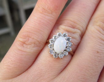 Vintage 9ct Gold Opal and Cubic Zirconia Ring, Size G 1/2, Statement Ring, Vintage, Antique, Engagement Ring, Opal, Cubic Zirconia, Jewelry