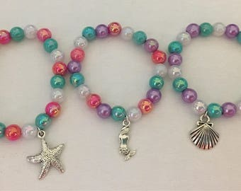 Mermaid bracelet party favors.Ocean bracelet party favors .Beach bracelet party favors.Bead bracelet party favors.